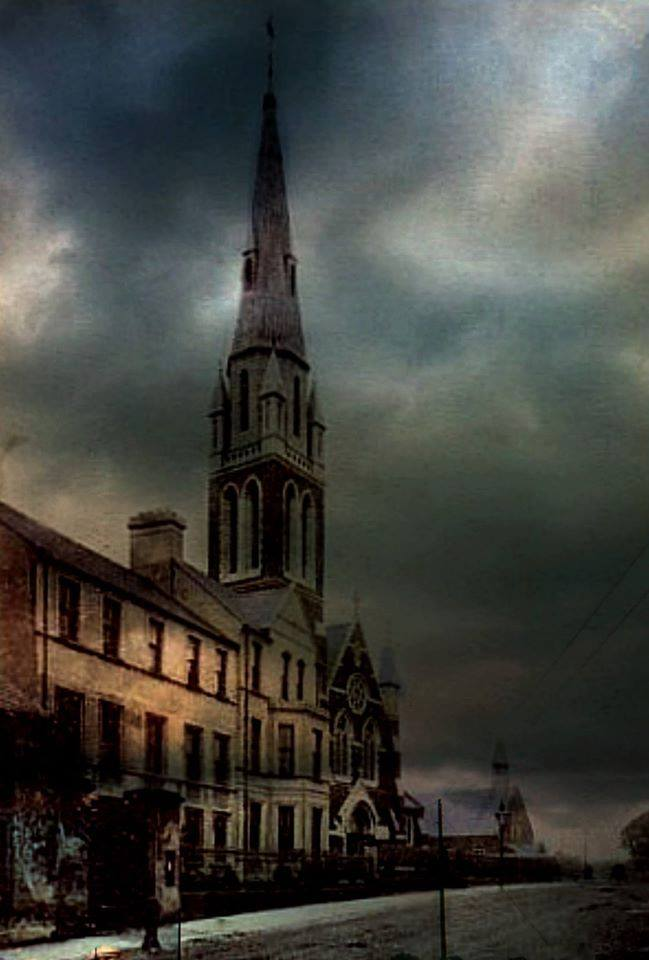 The spire of Shankill Parish Church in Lurgan was blown down