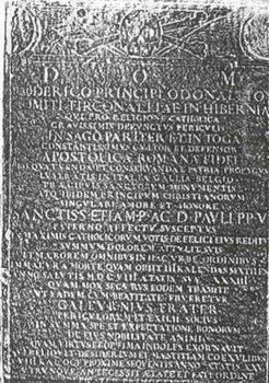 Gravestone of Rory O'Donnell, Earl of Tyrconnell in the church of San Pietro, Montorio, Rome